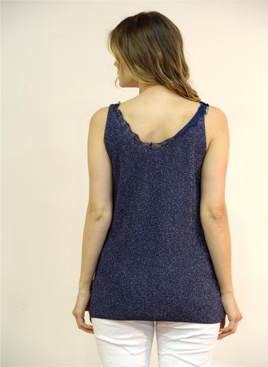 Optique Knitwear Dantelli V Yaka Kolsuz Triko Atlet Lacivert